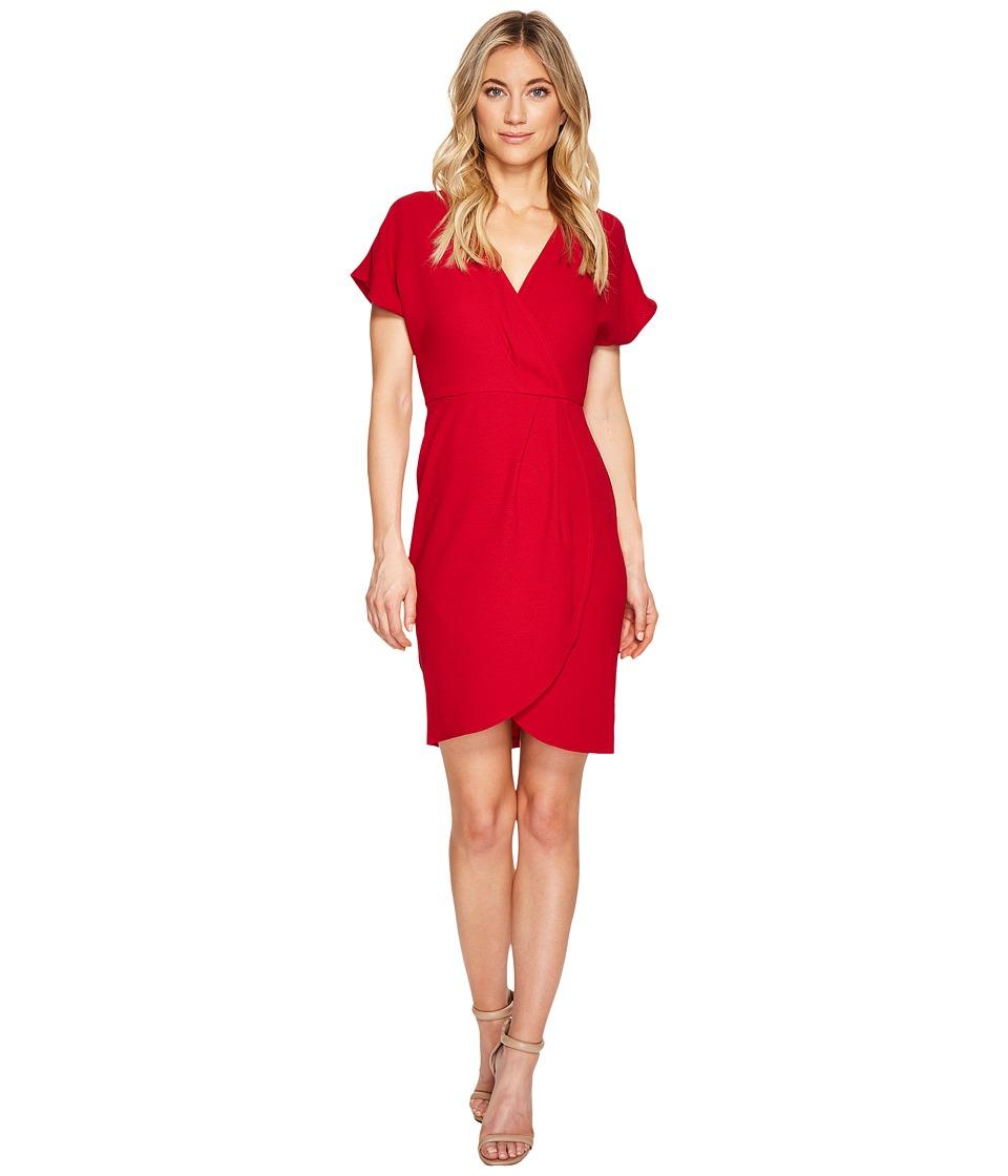 London Times Drop Sleeve Wrap Dress Tulip Hem (Red) Women