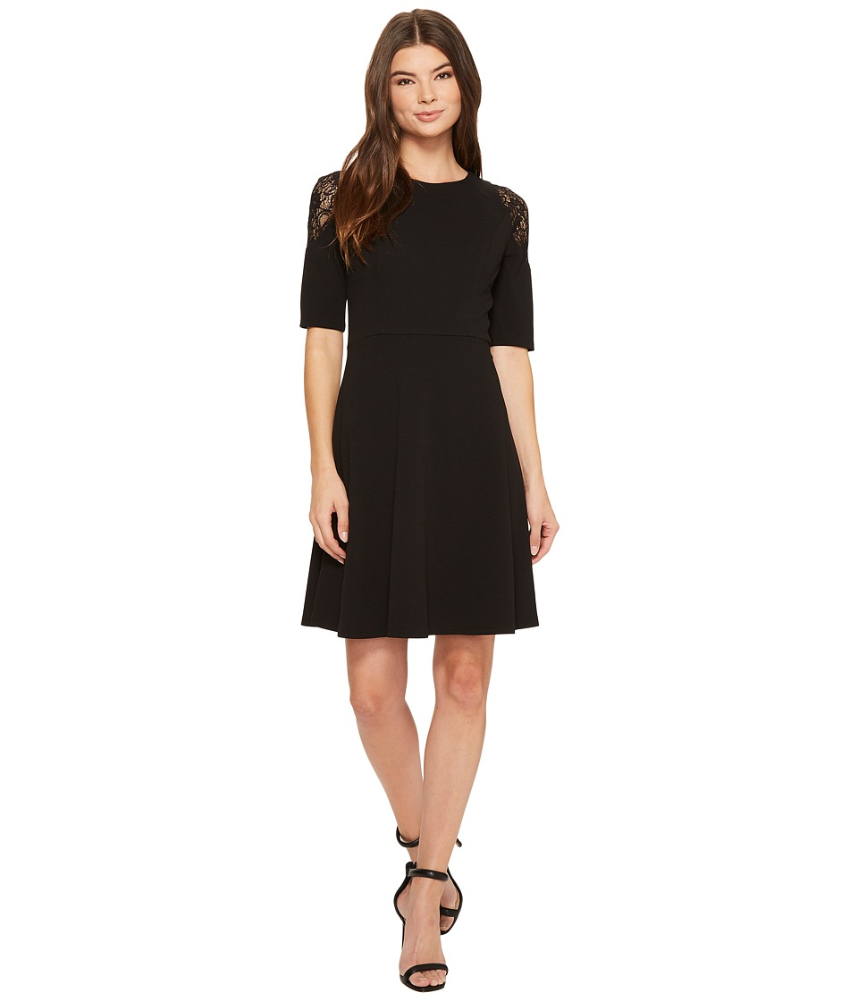 London Times Elbow Sleeve w/ Lace Cold Shoulder Fit Flare (Black) Women