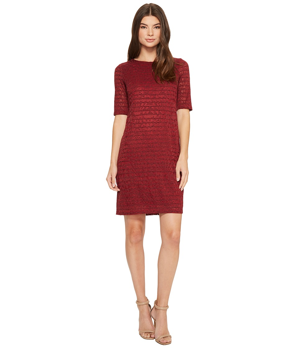 London Times - Aztec Tile Burnout Shift (Red) Women's Dress