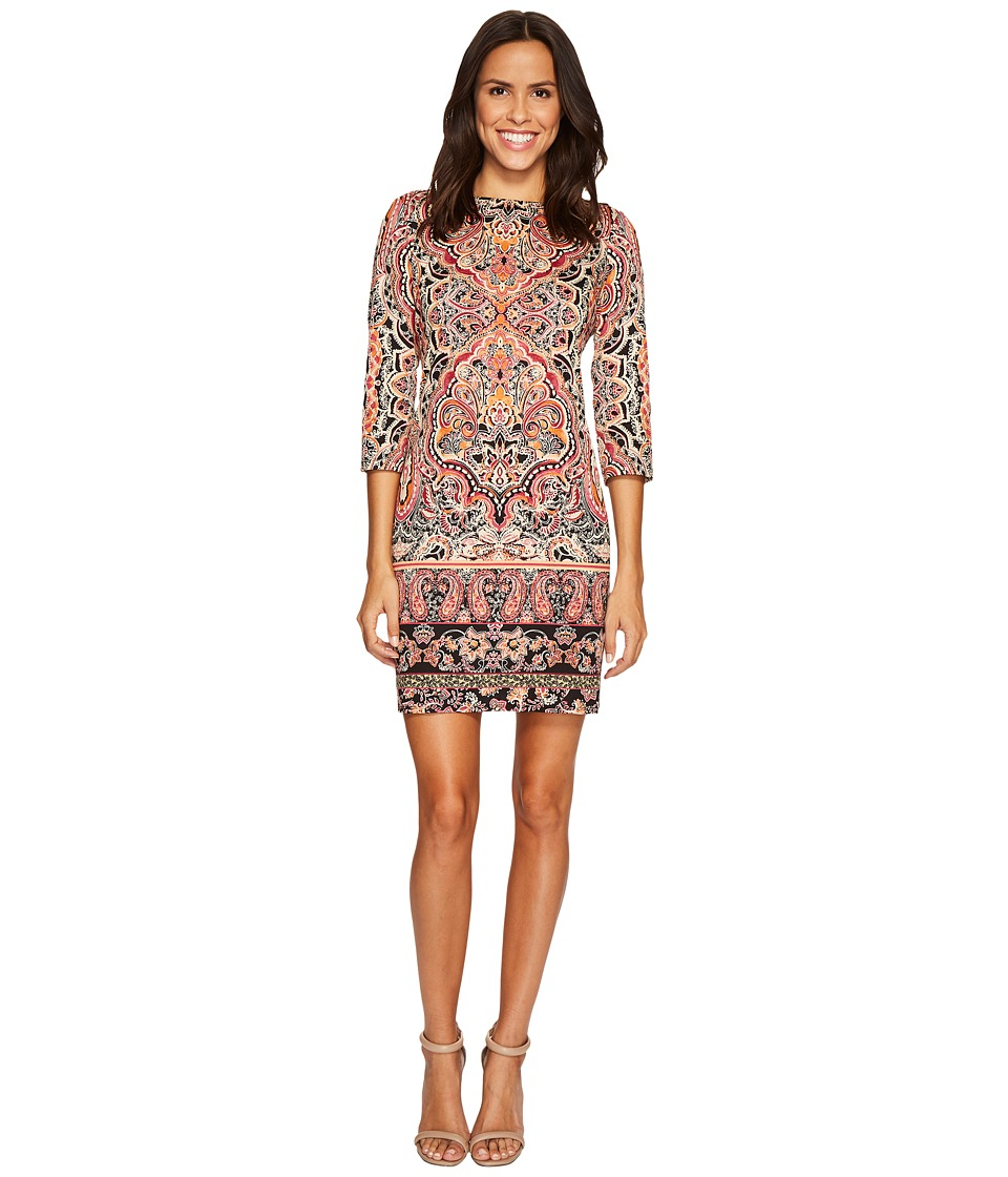 London Times - 3/4 Sleeve Boat Neck Shift (Rust Multi) Women's Dress