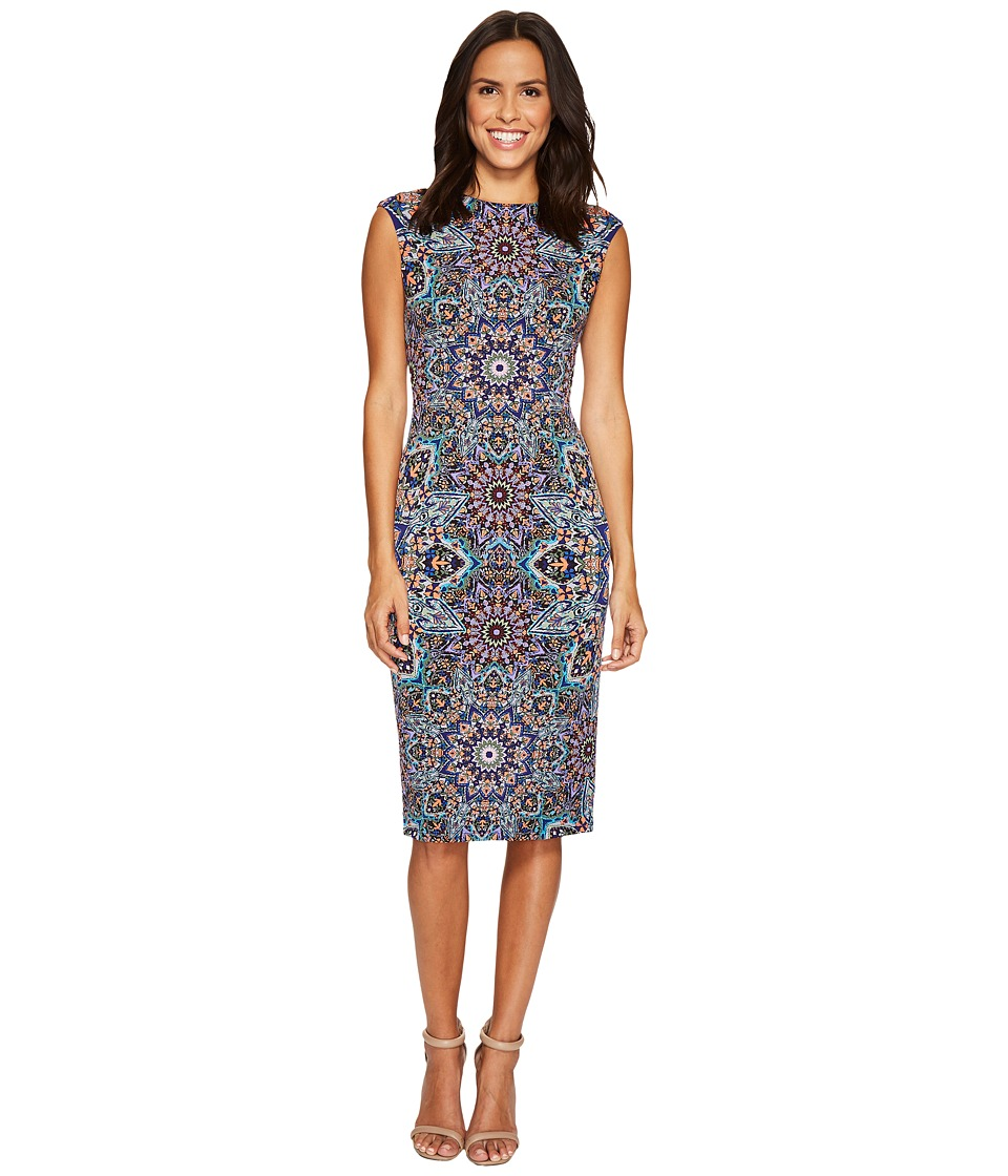 London Times - Puzzle Disc Cap Sleeve Midi Sheath (Blue) Women's Dress