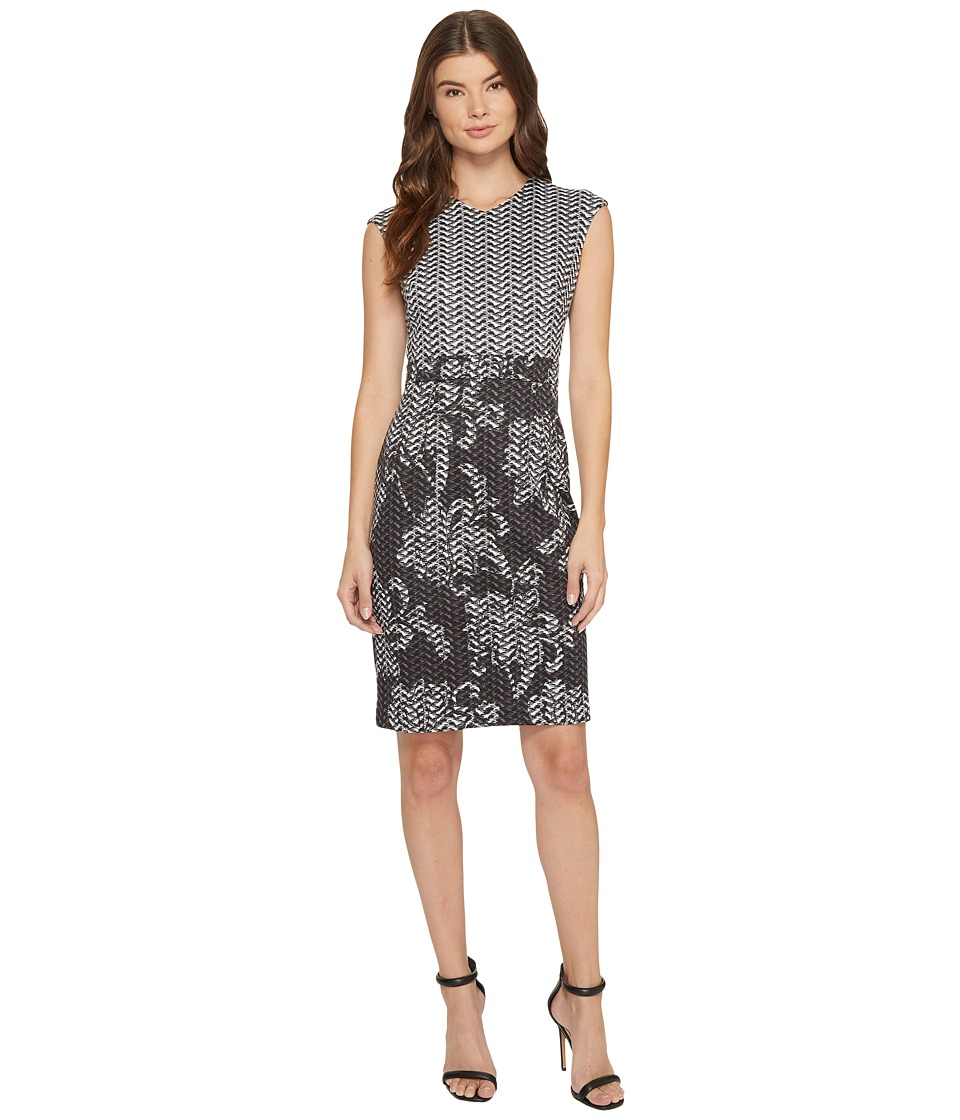 London Times - High V-Neck Cap Sleeve Sheath (Grey) Women's Dress