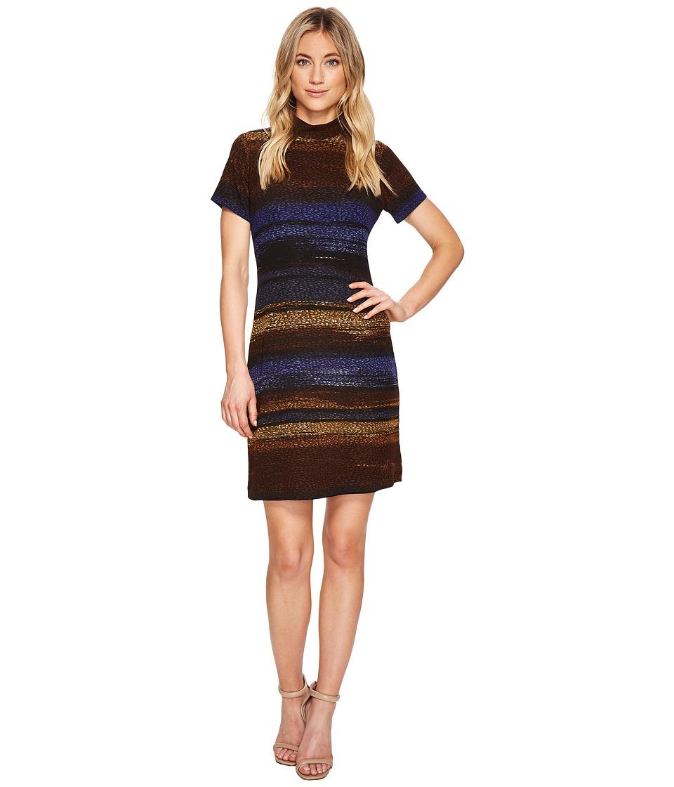 London Times - Autumn Ombre Stripe Short Sleeve (Multi) Women's Dress