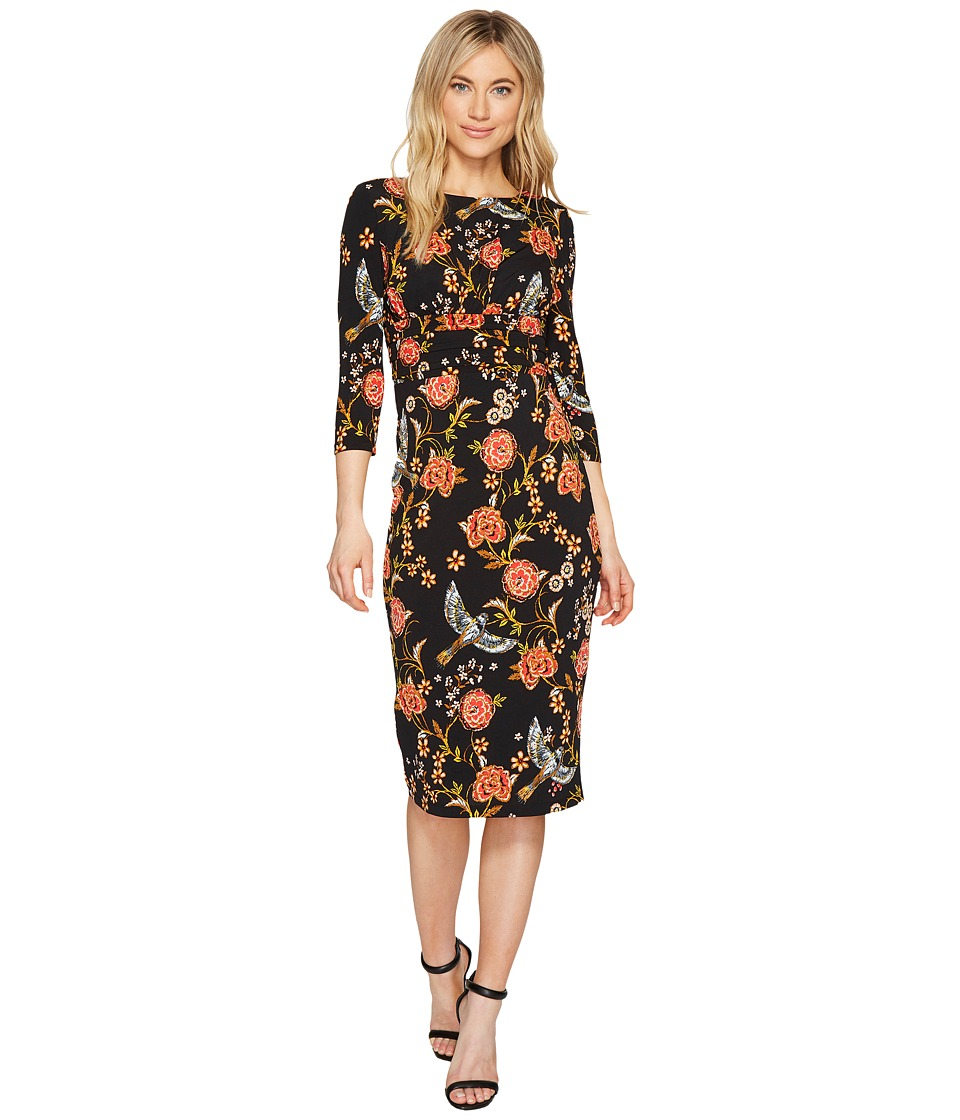 Sangria - Long Sleeve Printed Midi Sheath Dress (Black/Multi) Women's Dress