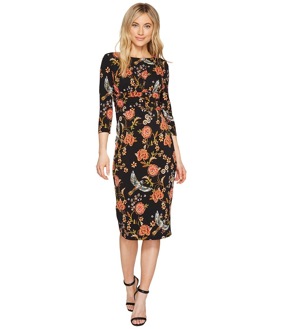 Sangria Long Sleeve Printed Midi Sheath Dress (Black/Multi) Women