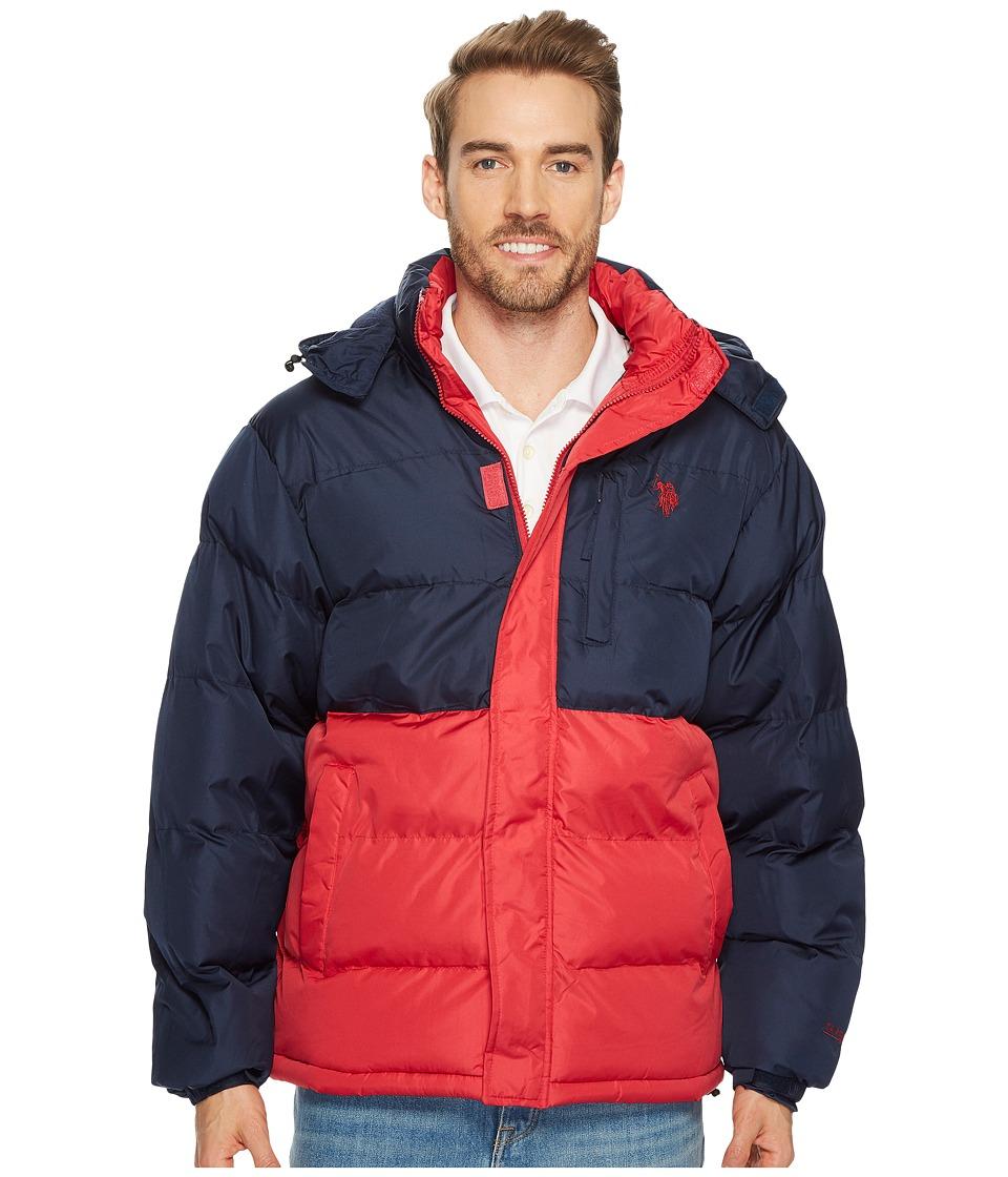 U.S. POLO ASSN. - Color Block Short Bubble Jacket (Chilli Pepper) Men's Coat