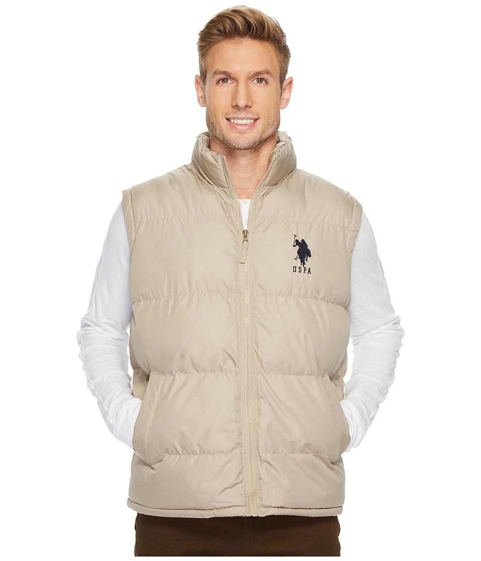 U.S. POLO ASSN. - Basic Vest with Big Pony Logo (Thompson Khaki) Men's Coat