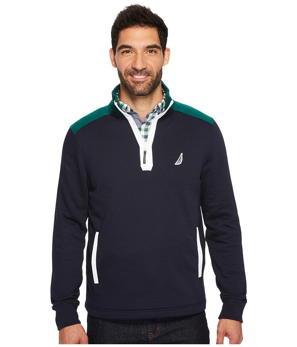 Nautica Long Sleeve 1/2 Zip Sweater (Navy) Men