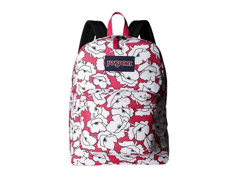JanSport - Superbreak (Cyber Pink Block Floral) Bags