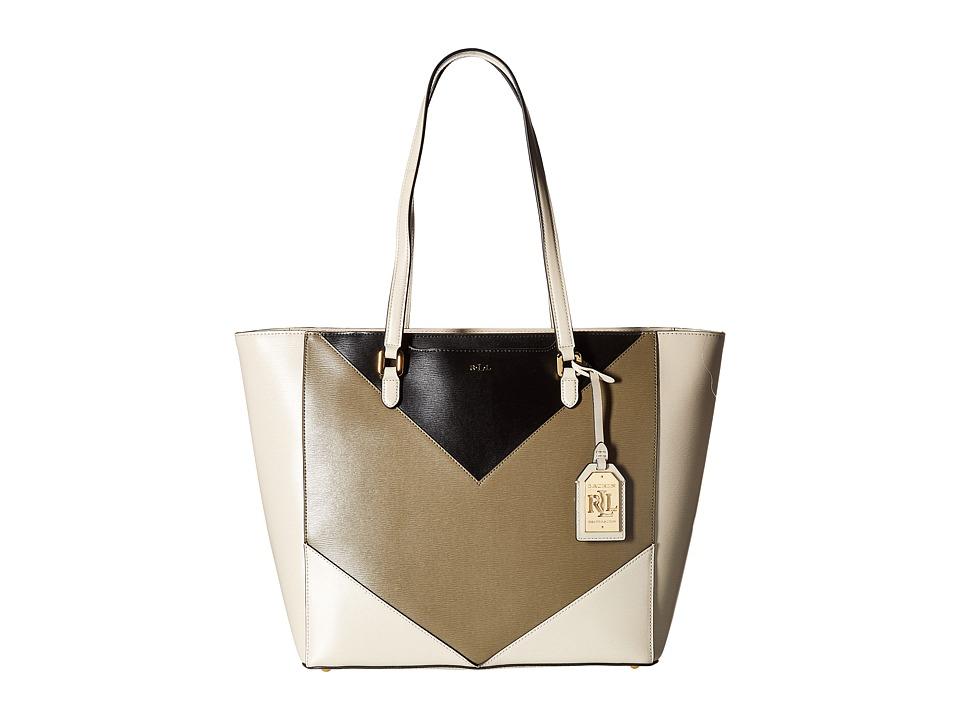 LAUREN Ralph Lauren - Newbury Halee Medium Tote (Black/Sage/Beige) Tote Handbags