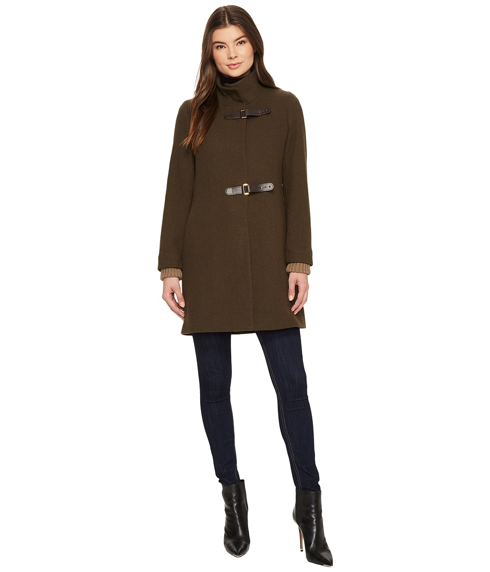 LAUREN Ralph Lauren - Knit Collar Funnel Neck (Loden) Women's Coat