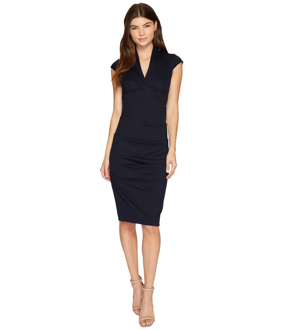 Nicole Miller Hadley Ponte Cap Sleeve V-Neck Dress (Navy 2) Women's Dress