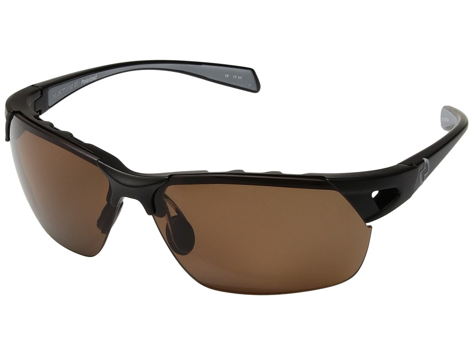 Native Eyewear - Eastrim (Matte Black/Polarized Brown) Plastic Frame Sport Sunglasses