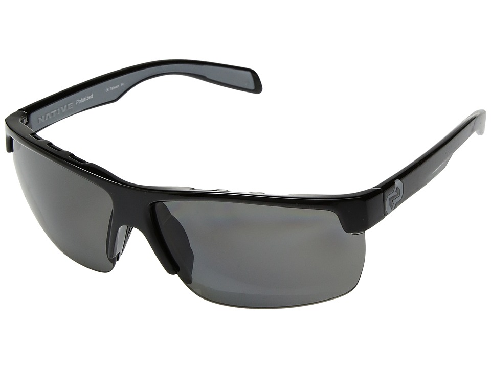 Native Eyewear - Linville (Gloss Black/Polarized Gray) Sport Sunglasses