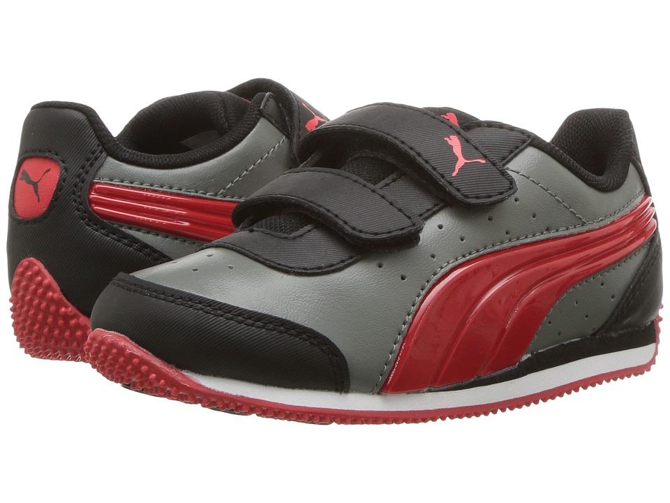 Puma Kids Speed Lightup Power V (Toddler) (Castor Gray/Flame Scarlet) Boys Shoes