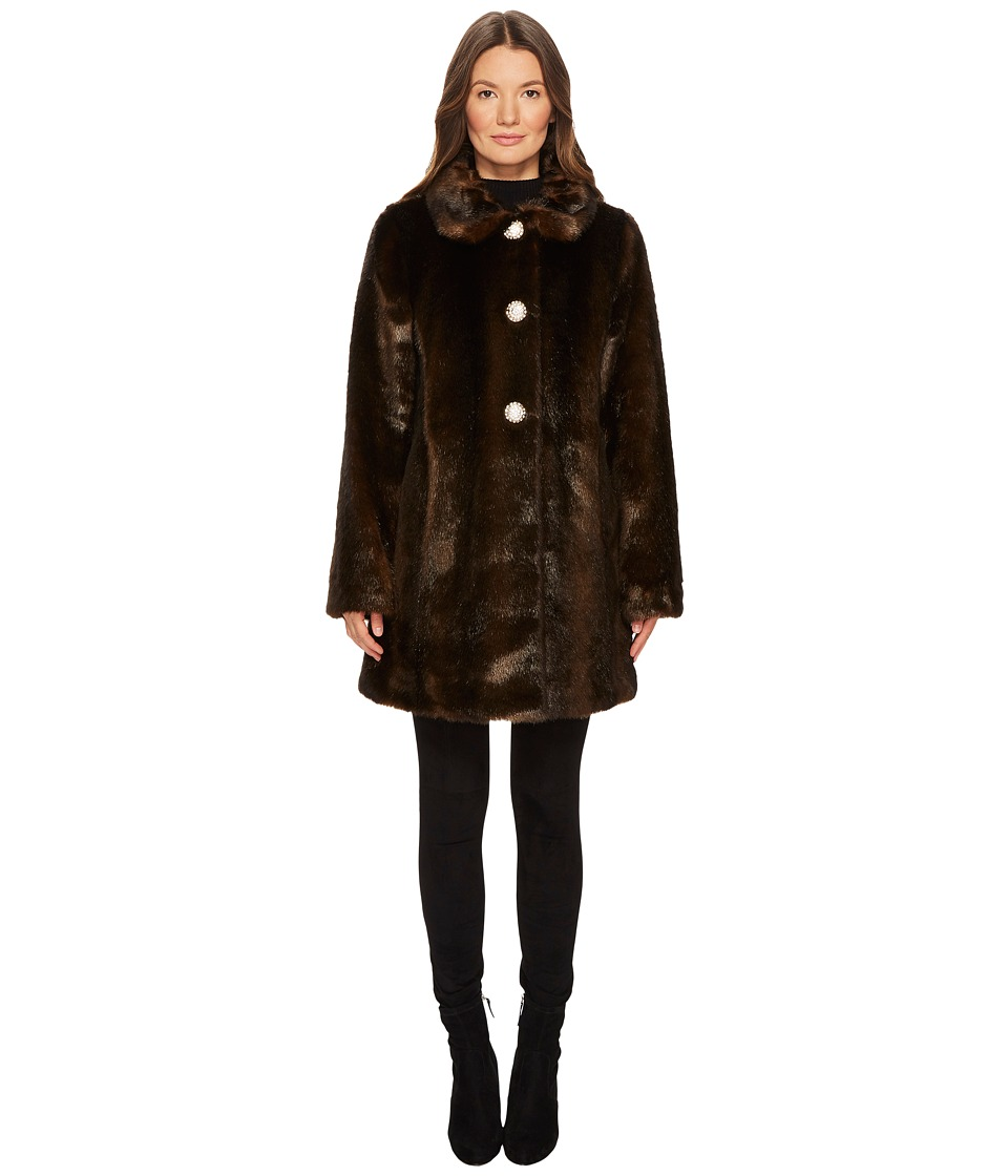 Kate Spade New York - Faux Fur Coat (Brown) Women's Coat