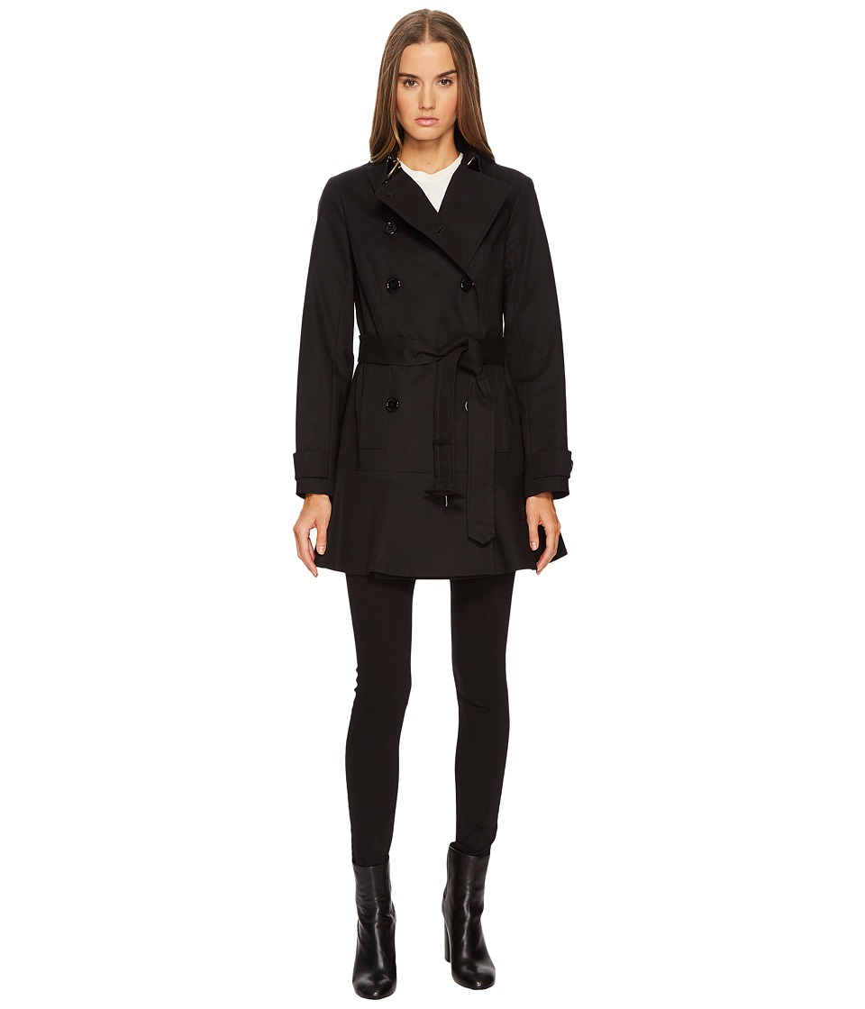 Kate Spade New York - Skirted Crepe Coat (Black) Women's Coat