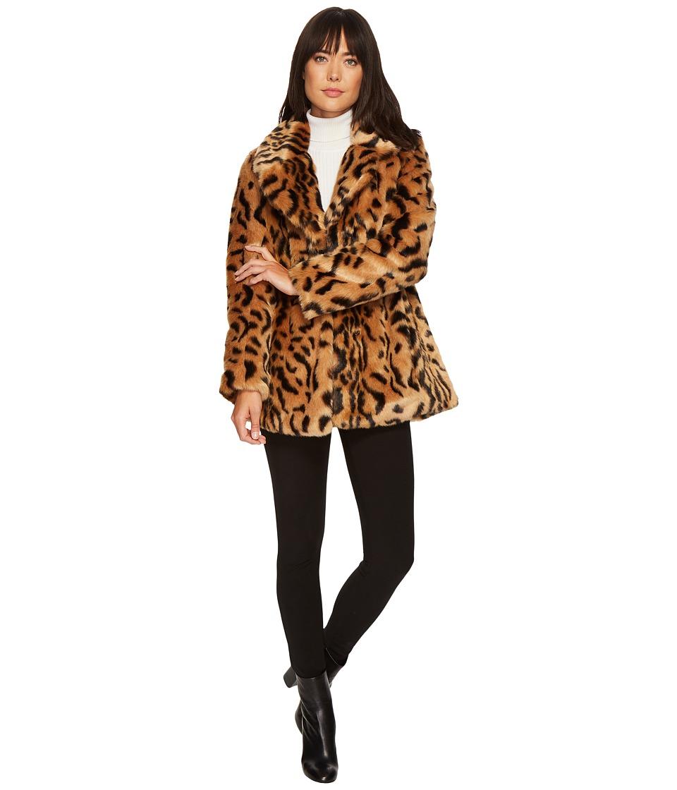 7 For All Mankind - Faux Fur Jacket (Brown/Black Leopard) Women's Coat