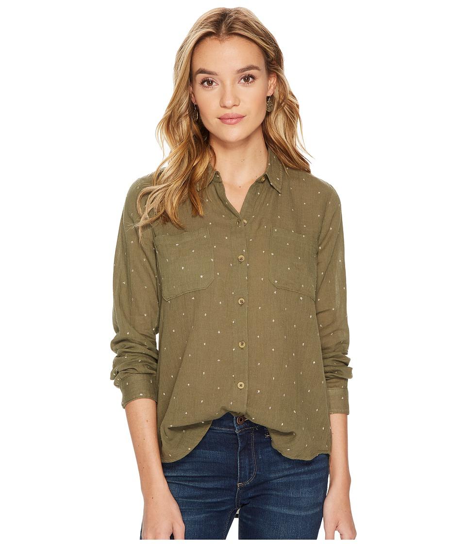 Lucky Brand - Lucky You Shirt (Dark Olive) Women's Long Sleeve Button Up