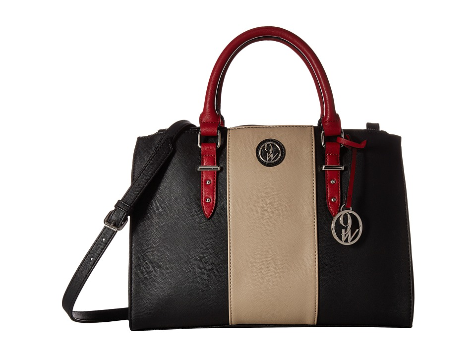 Nine West - State of Stripes (Black/Mushroom/Ruby Red) Handbags