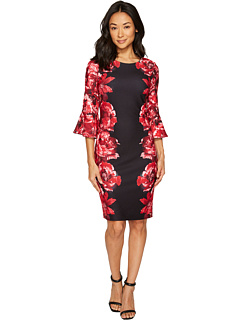 Print Scuba Crepe Sleeve Dress by Calvin Klein