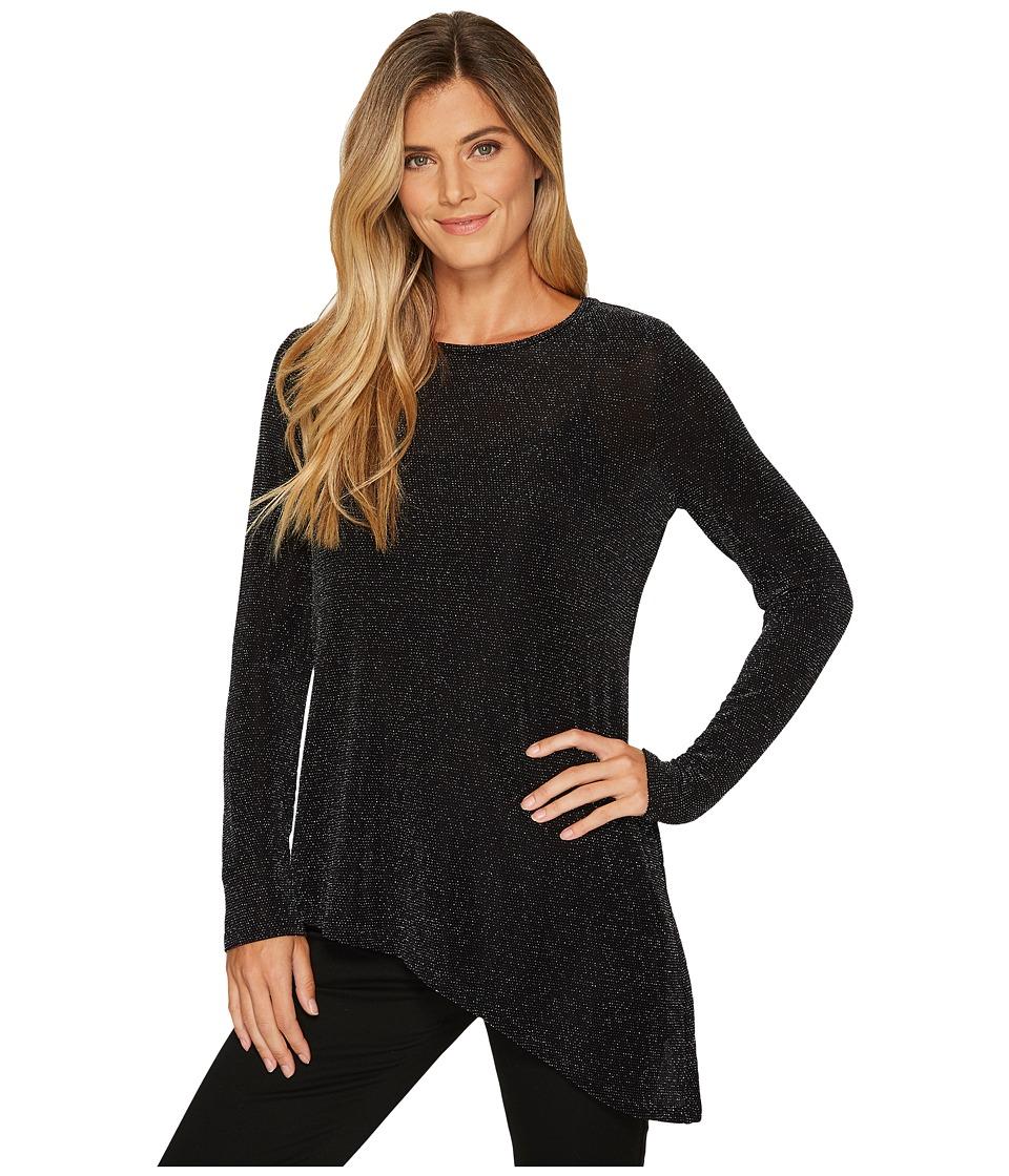 Calvin Klein Angle Bottom Long Sleeve Top (Black/Silver) Women