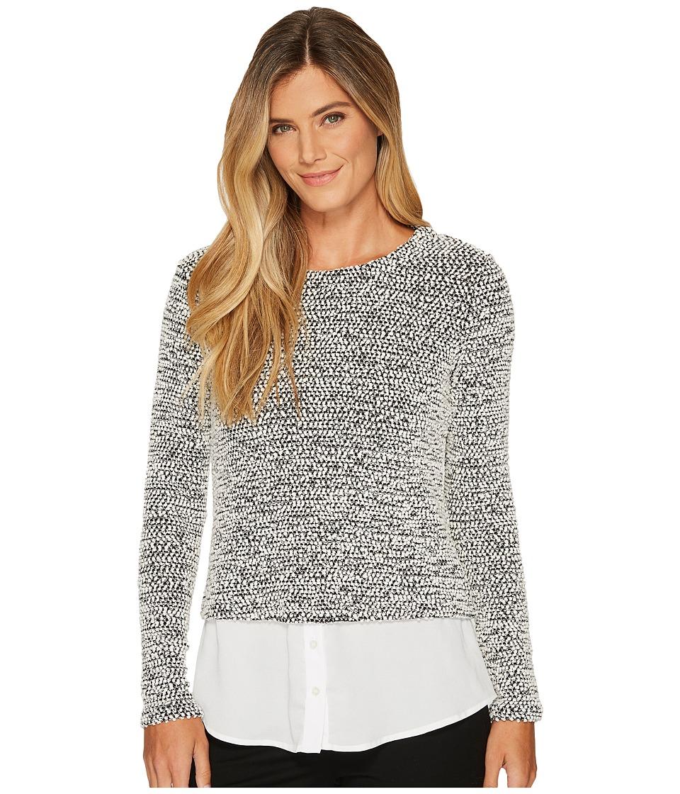 Calvin Klein Long Sleeve Nubby Knit Twofer (Black/White) Women