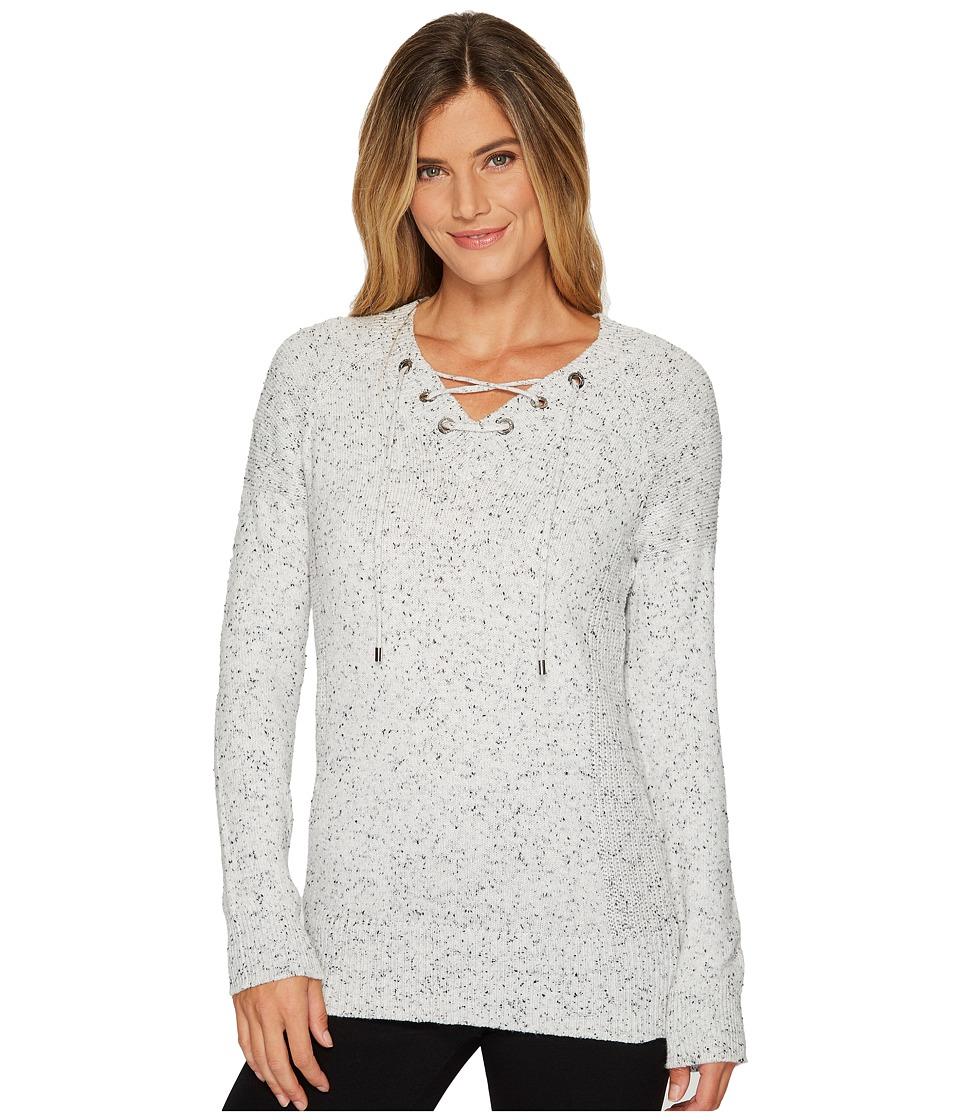 Calvin Klein Flecked Lace-Up Sweater (Soft White Multi) Women