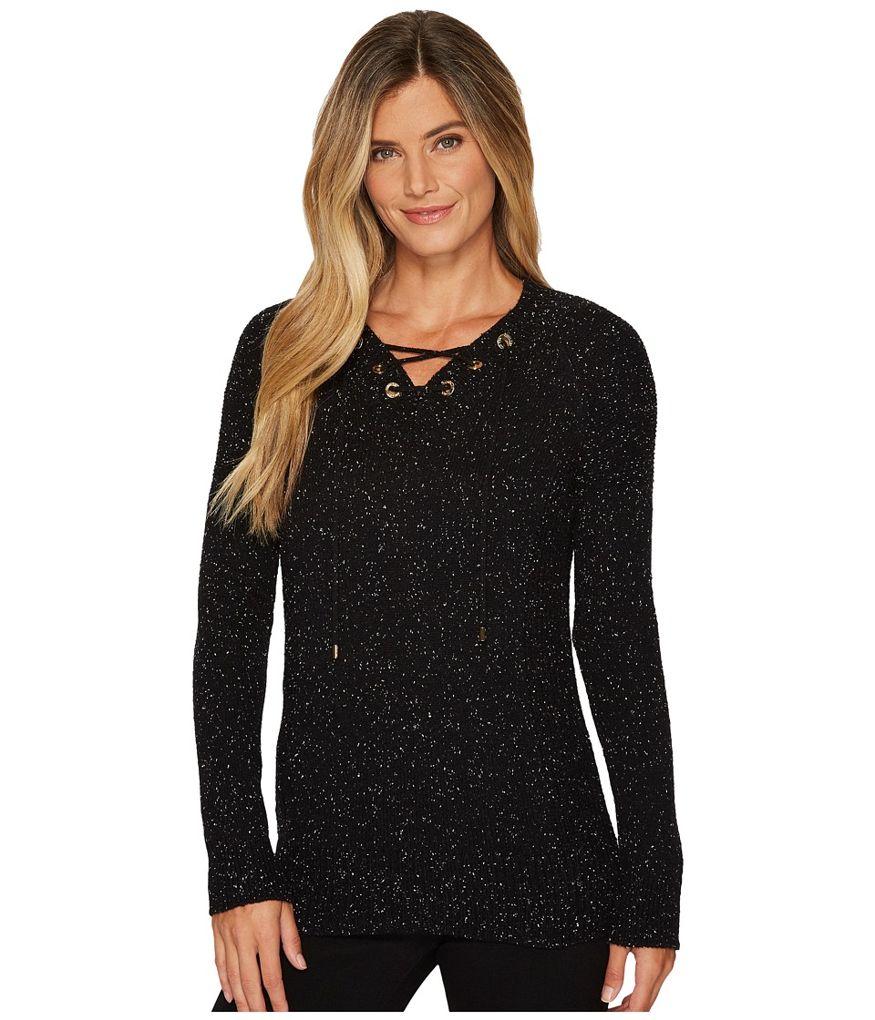 Calvin Klein Flecked Lace-Up Sweater (Black Combo) Women