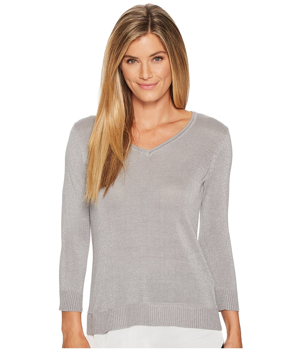 Calvin Klein Long Sleeve Lurex Twofer Sweater (Heather Granite) Women