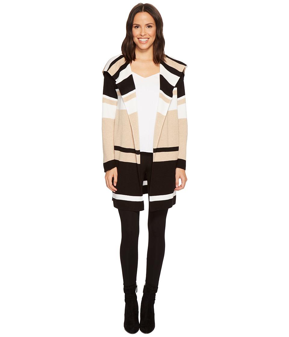 Calvin Klein Blocked Sweater Jacket (Heather Latte/Winter White Stripe) Women