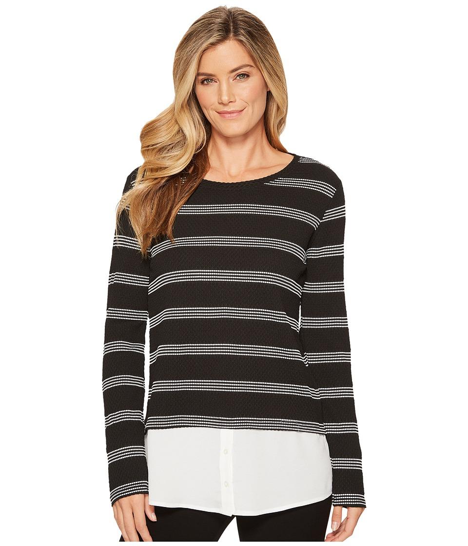 Calvin Klein Texture Stripe Twofer (Black/White Perferated) Women