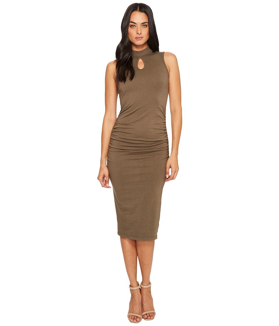 Michael Stars Cotton Lycra Mock Neck Sleeveless Dress (Loden) Women
