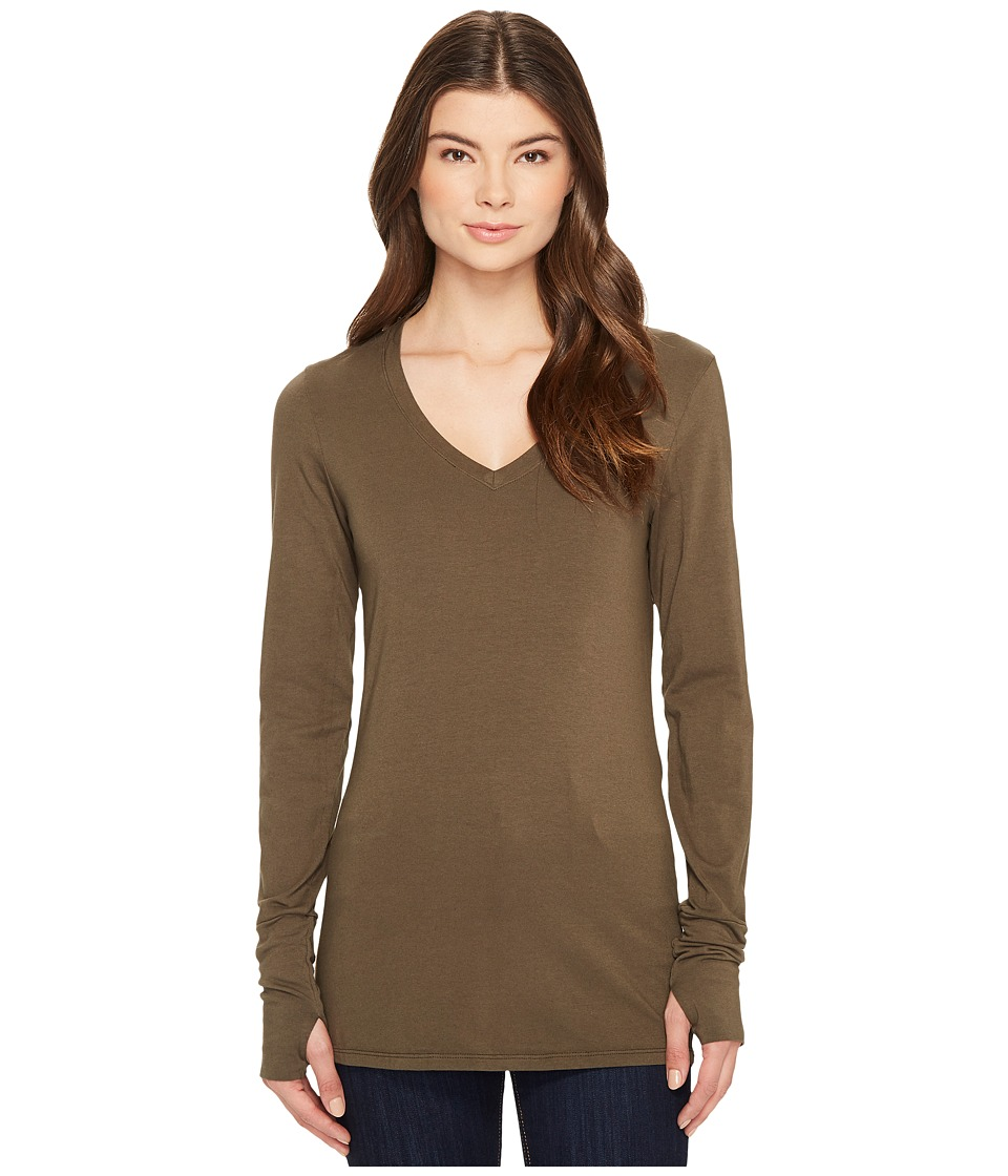 Michael Stars Cotton Lycra Long Sleeve Vee Neck w/ Thumbholes (Loden) Women