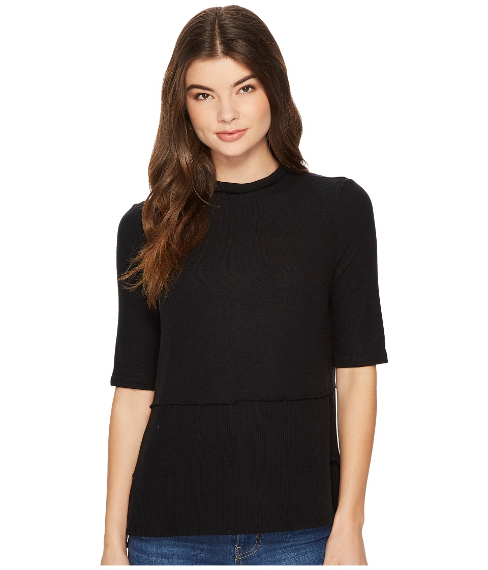 Michael Stars Super Soft Madison Mock Neck Elbow Sleeve Top (Black) Women