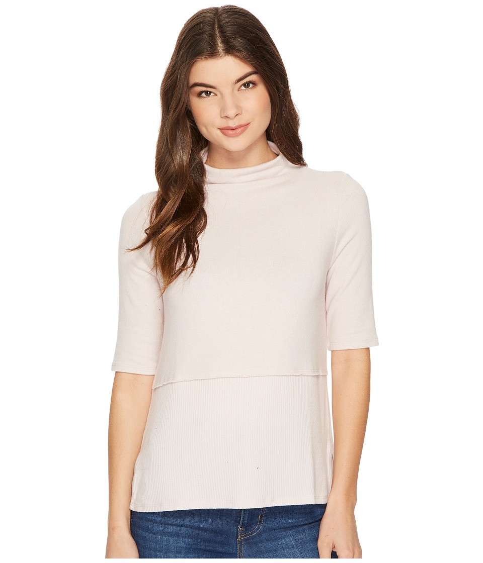 Michael Stars Super Soft Madison Mock Neck Elbow Sleeve Top (Sweet Pea) Women