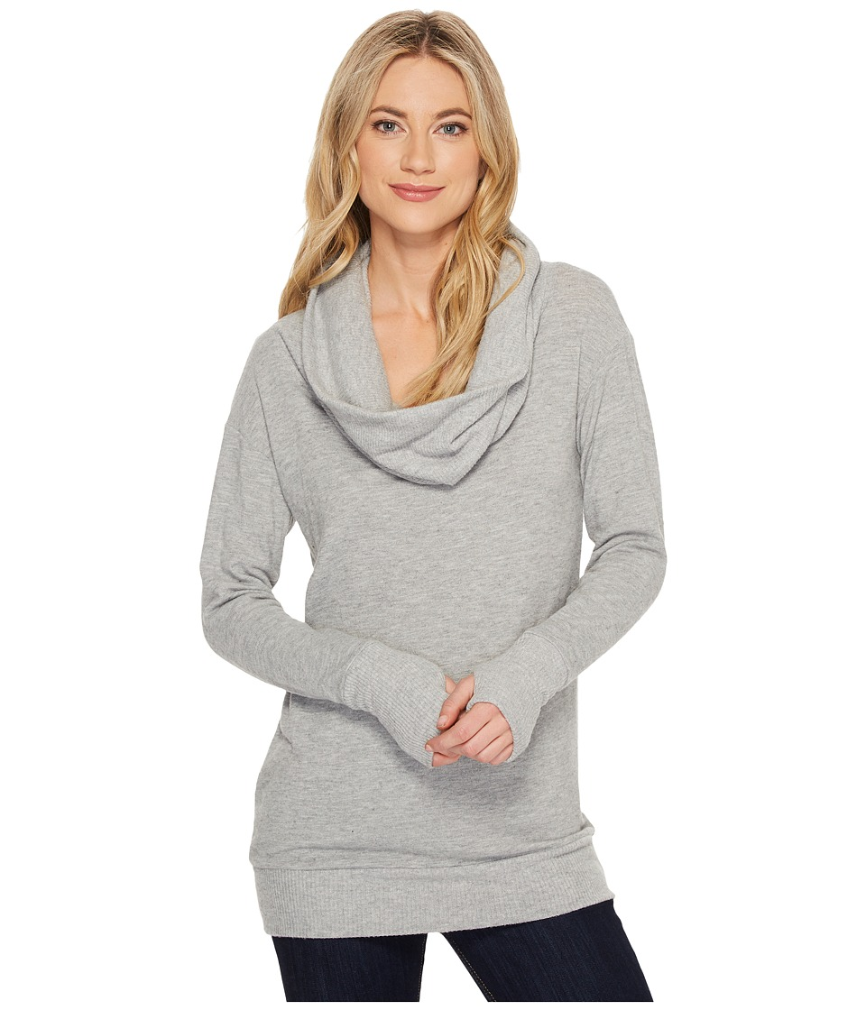 Michael Stars Super Soft Madison Jersey Cowl Neck w/ Thumbholes (Heather Grey) Women