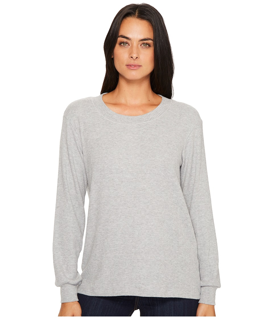 Michael Stars Super Soft Madison Rib Long Sleeve Scoop Neck Pullover (Heather Grey) Women