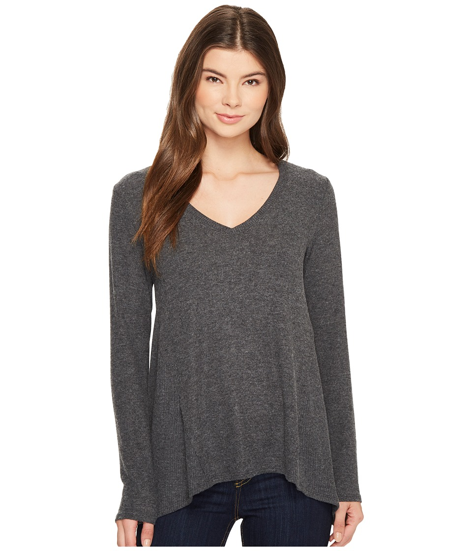 Michael Stars Super Soft Madison Long Sleeve V-Neck Top (Charcoal) Women