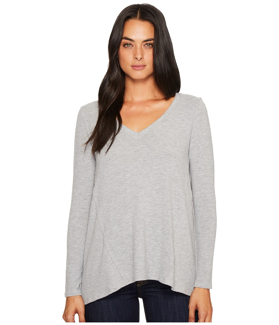 Michael Stars Super Soft Madison Long Sleeve V-Neck Top (Heather Grey) Women