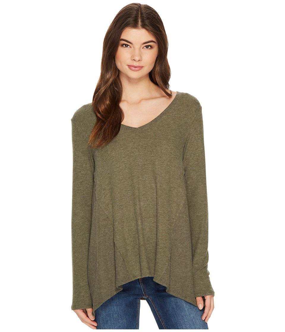 Michael Stars Super Soft Madison Long Sleeve V-Neck Top (Heather Loden) Women