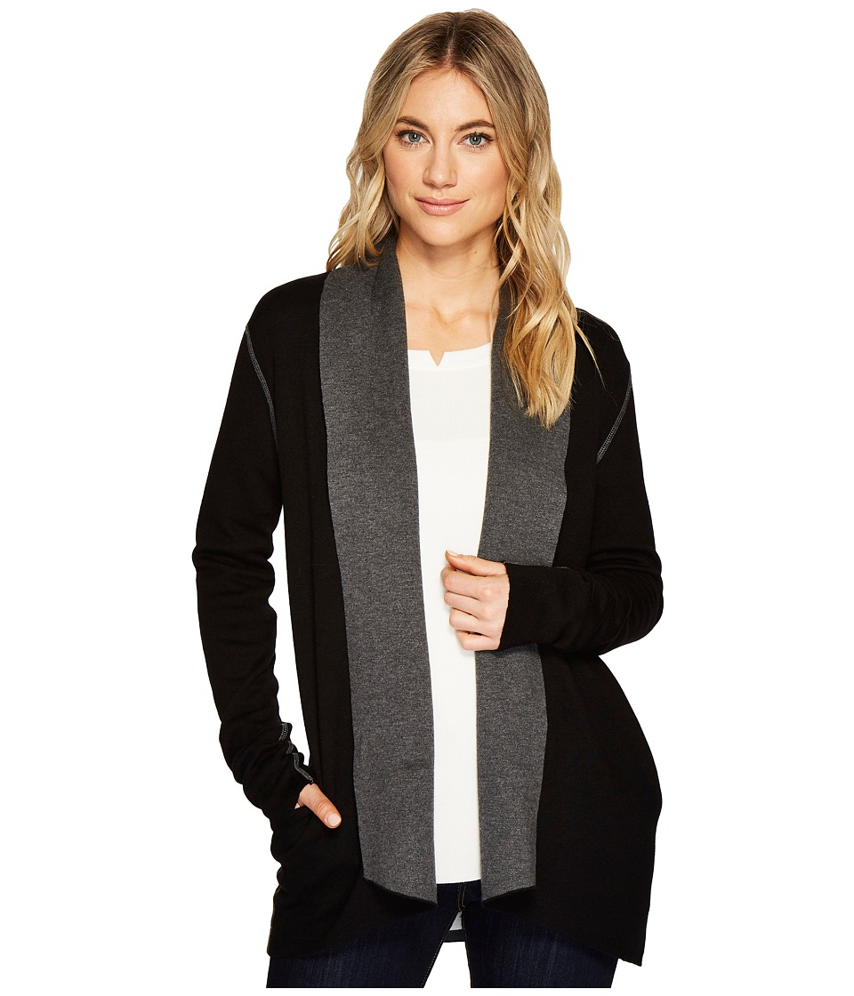 Michael Stars Luxe Cotton Reversible Shawl Collar Cardigan (Black/Charcoal) Women
