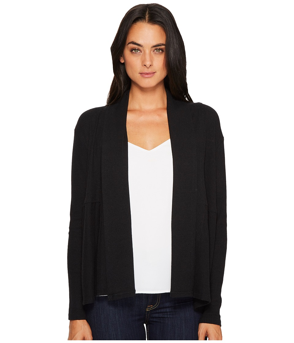Michael Stars Super Soft Madison Rib Open Front Long Sleeve Cardigan (Black) Women