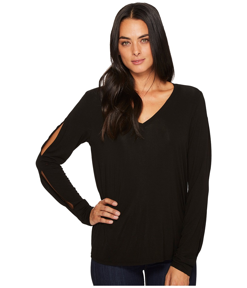 Michael Stars Jersey Lycra V-Neck Long Sleeve with Slit (Black) Women