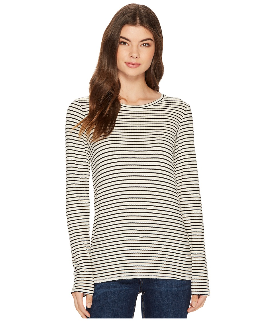 Michael Stars Striped Rib Long Sleeve Crew Neck Tee (Chalk) Women