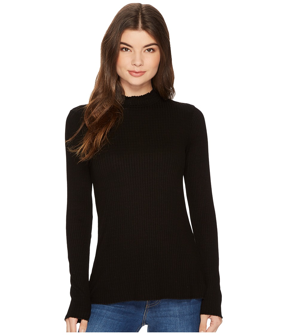 Michael Stars Striped Rib Mock Neck Long Sleeve Lettuce Edge Top (Black) Women