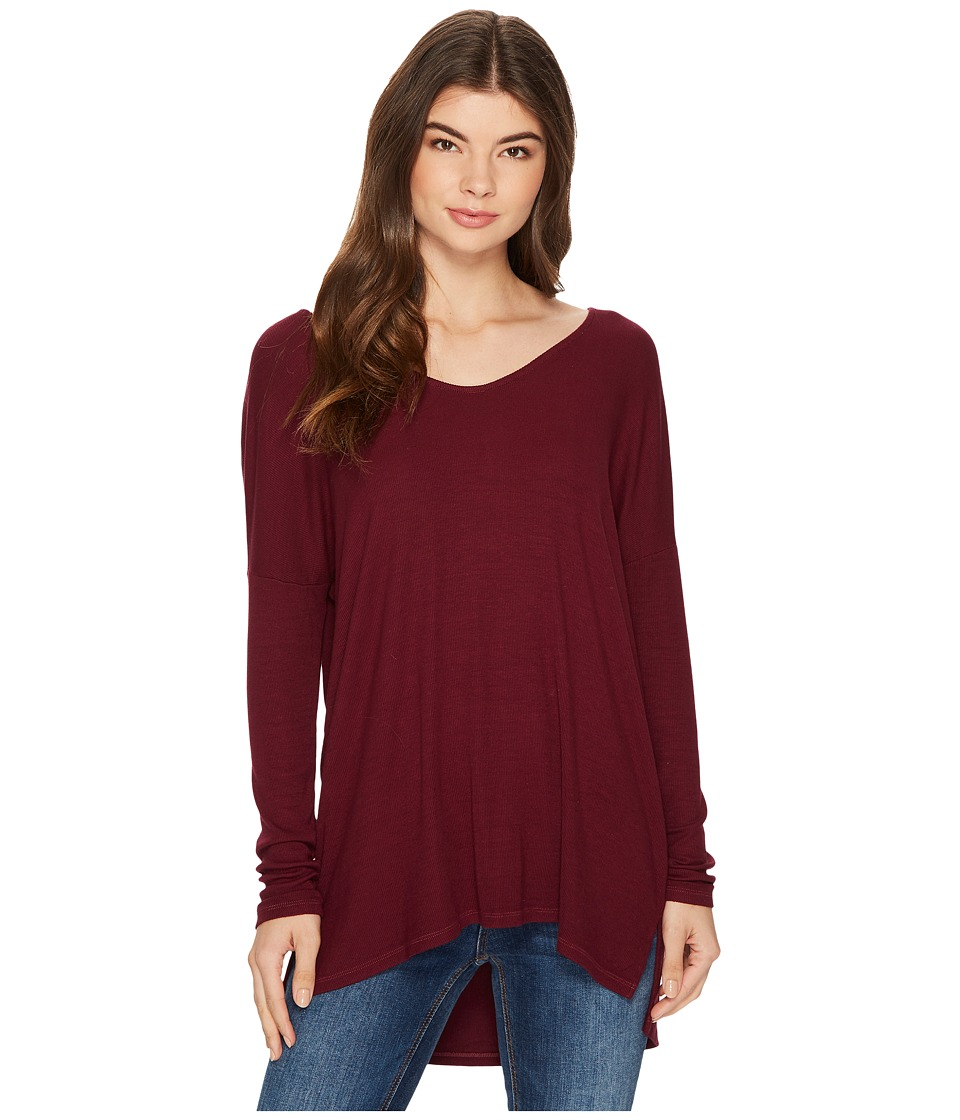 Michael Stars 2x1 Rib Long Sleeve Wide Vee Neck Hi Low (Garnet) Women