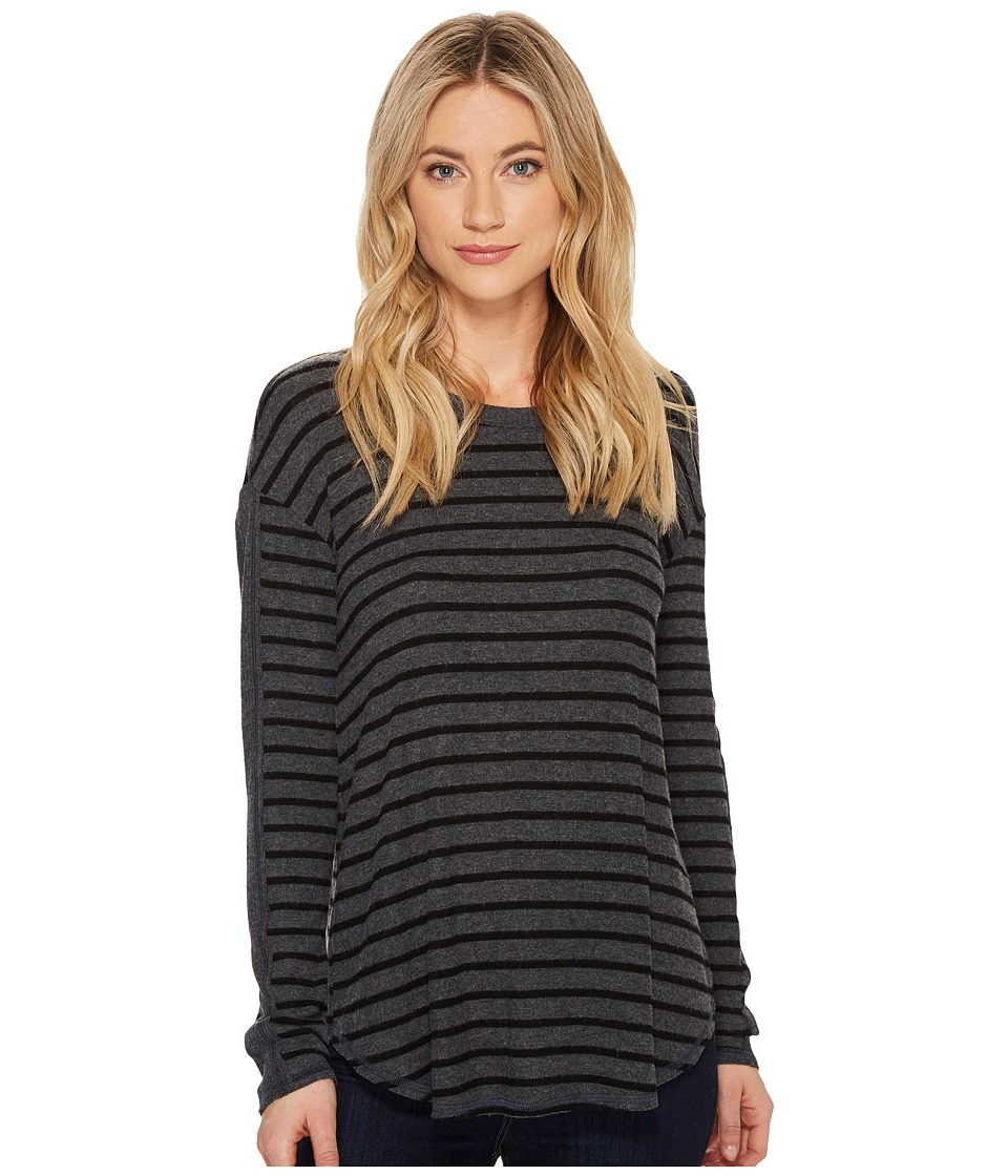 Michael Stars Super Soft Madison Long Sleeve Crew Neck (Charcoal/Black) Women