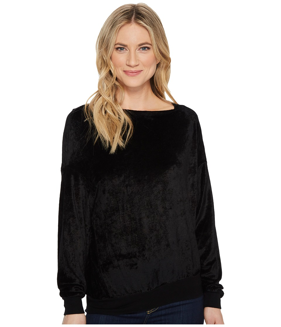 Michael Stars Velvet Long Sleeve Asymmetric Neck Pullover (Black) Women