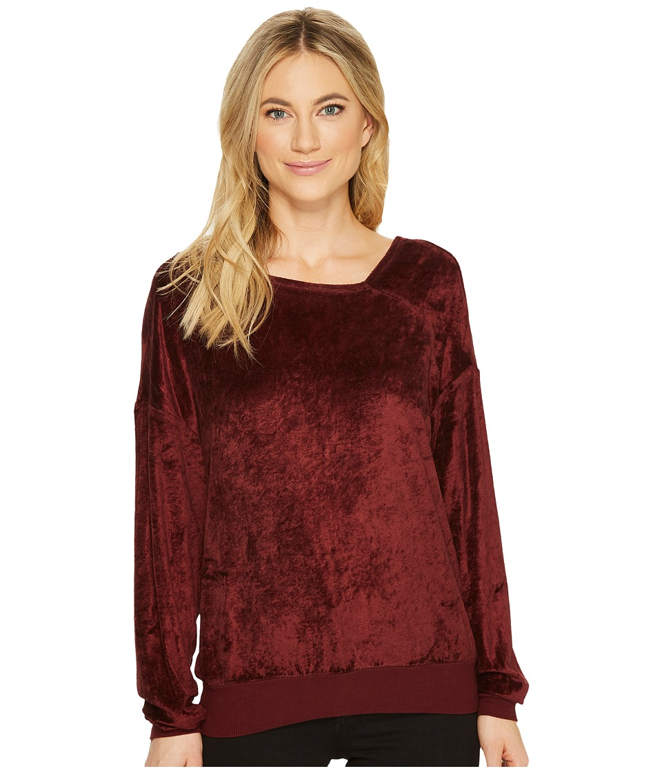 Michael Stars Velvet Long Sleeve Asymmetric Neck Pullover (Bourbon) Women